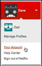 netflix account menu