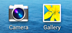 Android phone smartphone OS icons close up - camera, gallery