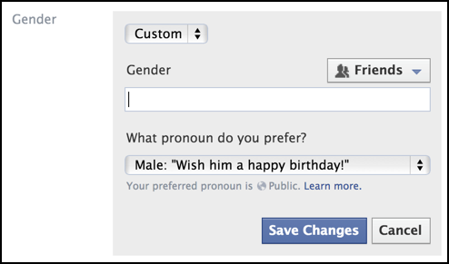 lots of options for specifying a gender neutral pronoun in fb