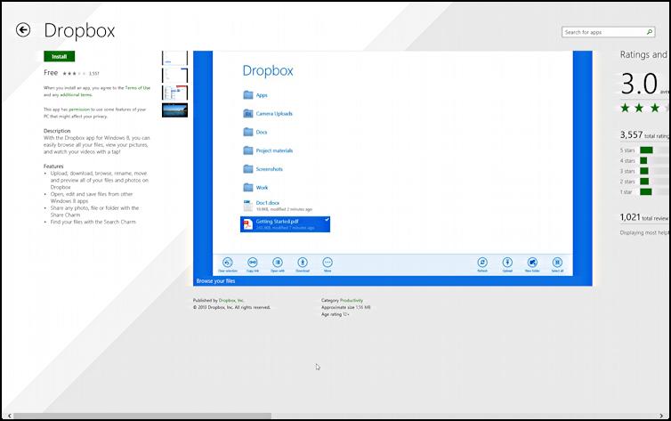 dropbox for windows 8