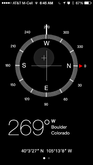 iphone compass app, facing west