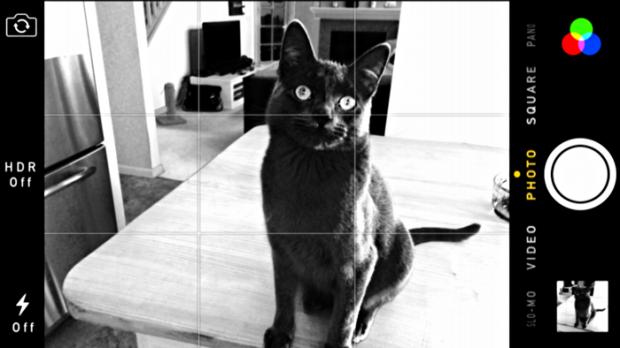 iPhone camera in black & white mode
