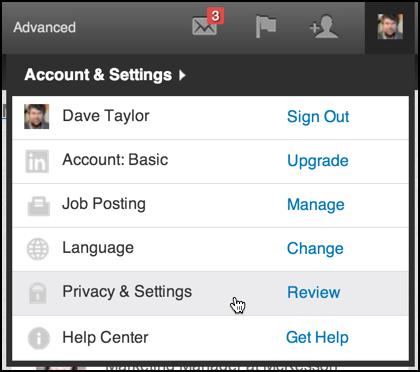 li accounts and settings menu