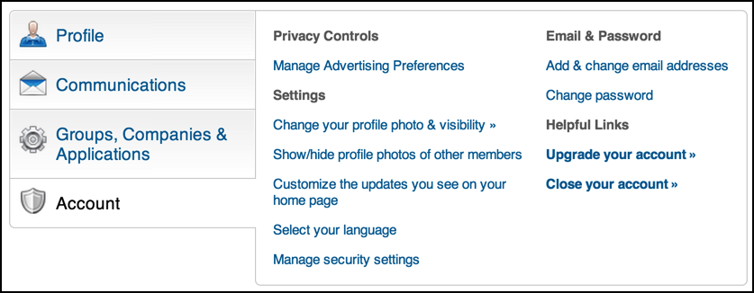 account settings / security