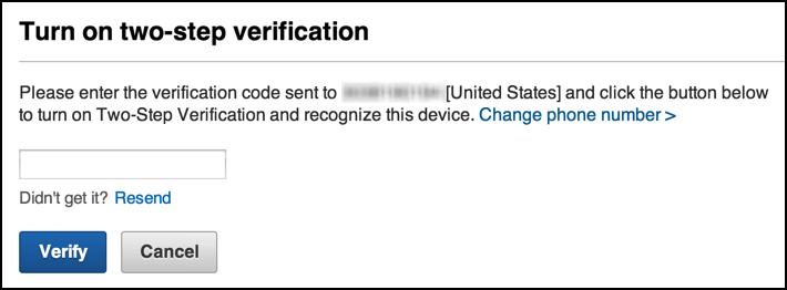 secret code sent to your phone via sms