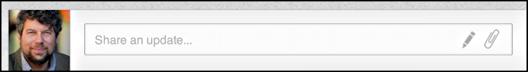 linkedin status box with publishing power post pencil icon