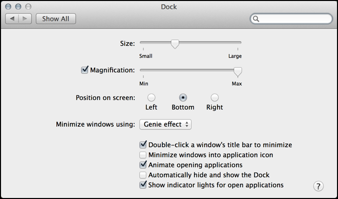 dock preferences and settings