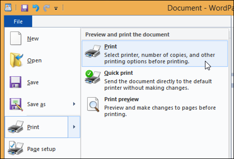 print document from wordpad