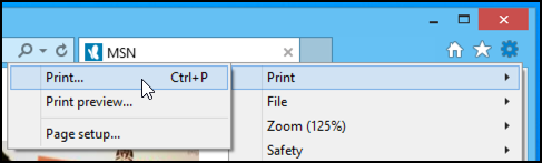 how to print from internet explorer