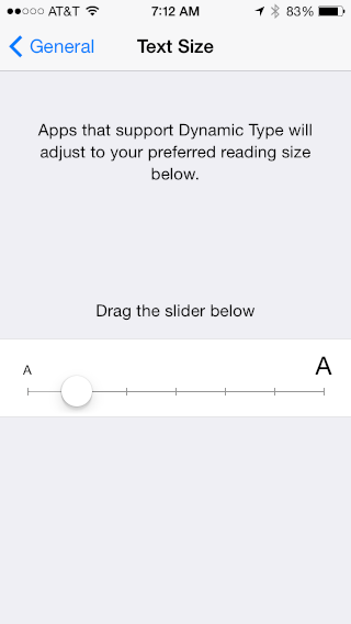 slider to make text on iphone ipad larger / smaller