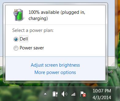 battery settings window, win7