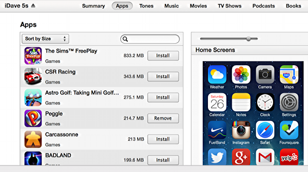 apps by size in itunes