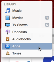 apps chosen from the library pop-up