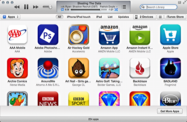 apps by icon in iTunes 11