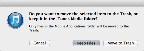 are you sure you want to delete this app from itunes?