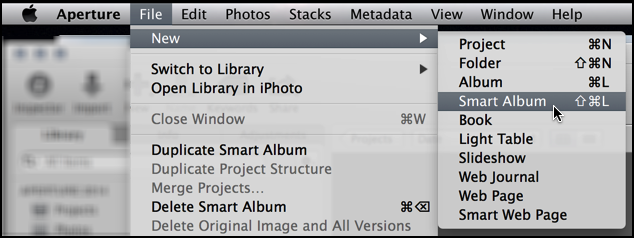 create new smart album in aperture