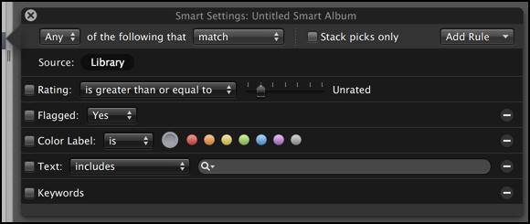 smart album configuration options