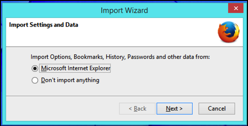 import IE settings?