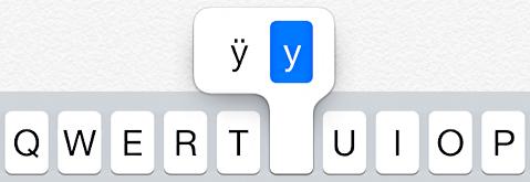 letter 'y' variants umlaut ios7