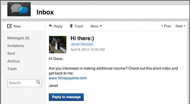 spammy email on linkedin