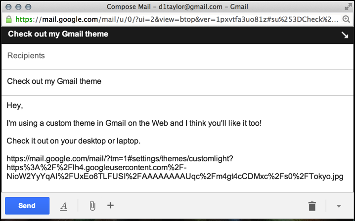 email to share gmail custom theme