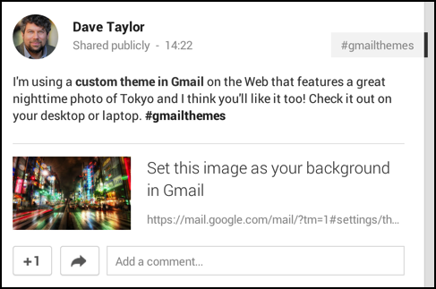 shared my custom gmail theme link on google plus