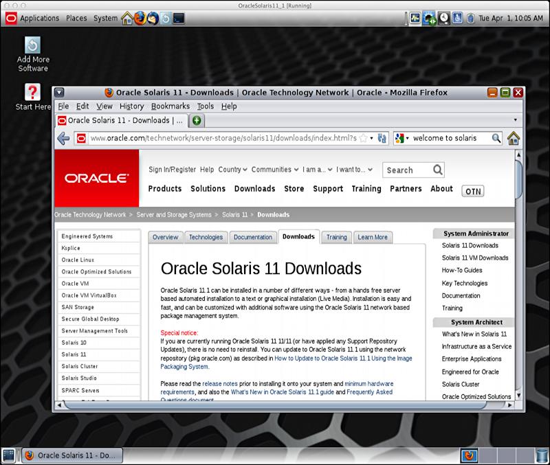 Oracle/Solaris 11.1 running in Virtualbox on a Mac OS X MacBook