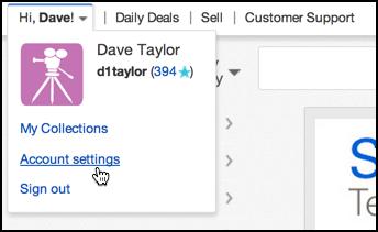 ebay account settings menu