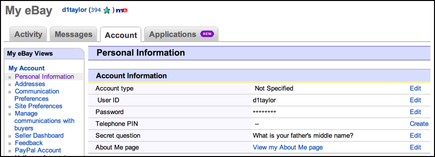 security privacy account settings ebay