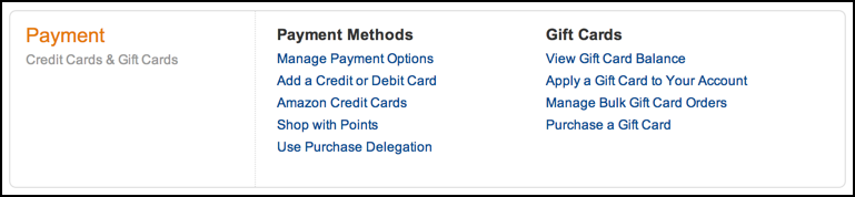 payment methods and information, amazon.com