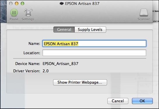 Epson Mac Printer Settings / General