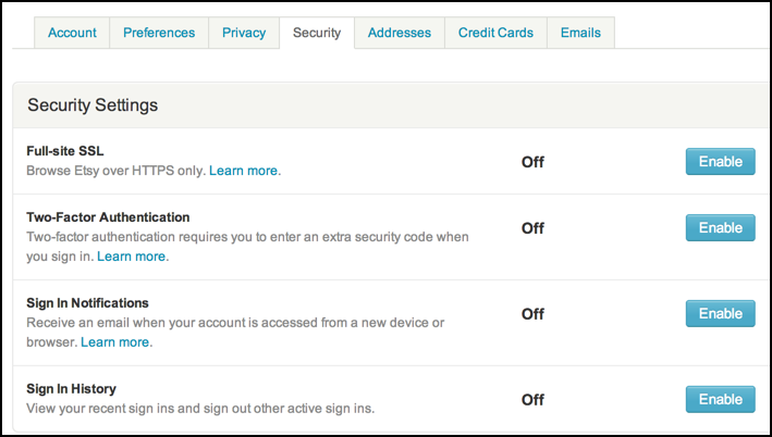 etsy account security settings