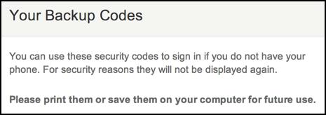 etsy backup codes