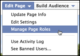 edit page menu on fb group