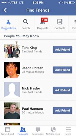 Facebook mobile friends