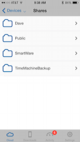 top level folders, western digital mycloud, iphone ios app