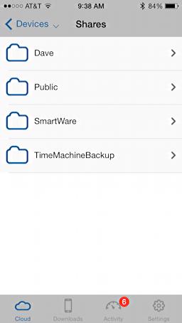 top level folders, western digital mycloud, iphone ios app