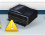 Mac printing printer warning symbol icon triangle Dock