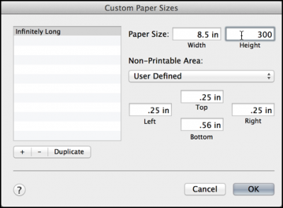 super long 300in paper size specified in mac printer dialog