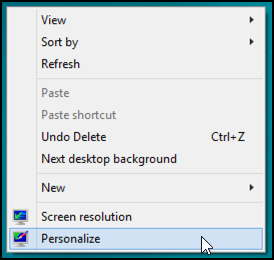 right click personalize win8 desktop
