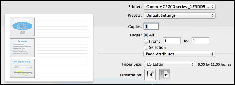 layout options portrait landscape print dialog box mac os x