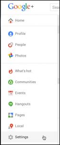 google plus main menu
