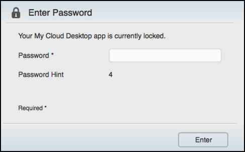 enter password to gain access to mycloud secure network storage