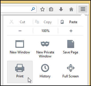 print icon in firefox