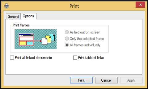 options tab, printer dialog box window, internet explorer, windows 8.1