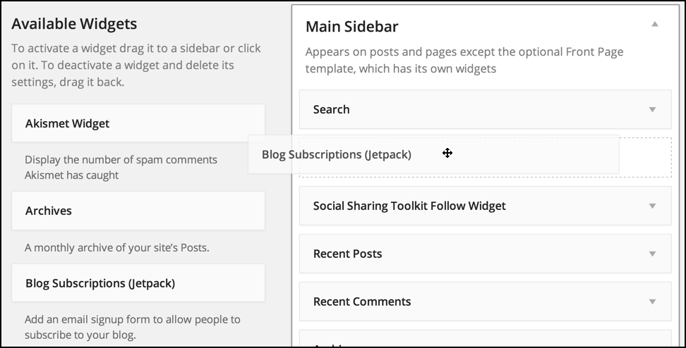 dragging email subscriptions widget from jetpack into layout