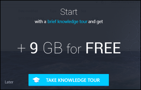 do the tour, get 9gb of extra zeospace free