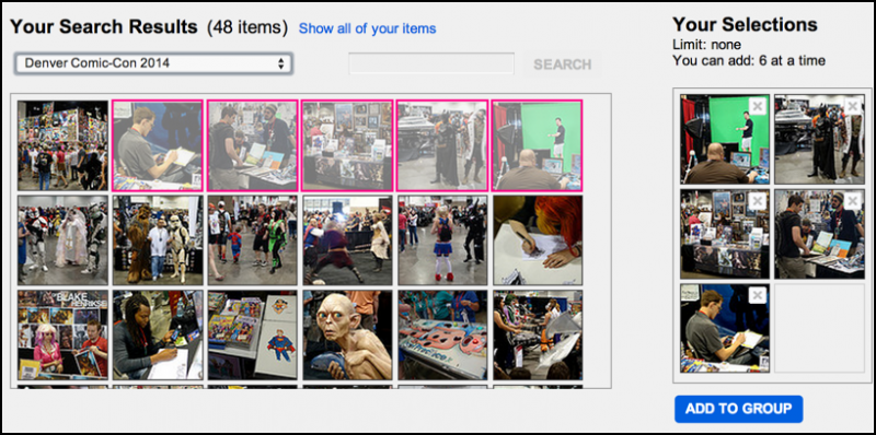 choosing individual photos from a flickr album for a flickr group