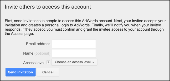 add a new user to an adwords account on google