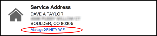 comcast / xfinity service address wifi hotspot
